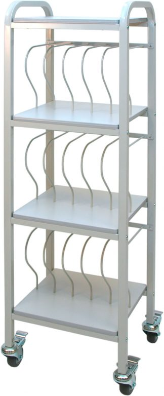 Mobile Chart Ringbinder Cart, 15-Space Rack, 2″ Binder Storage