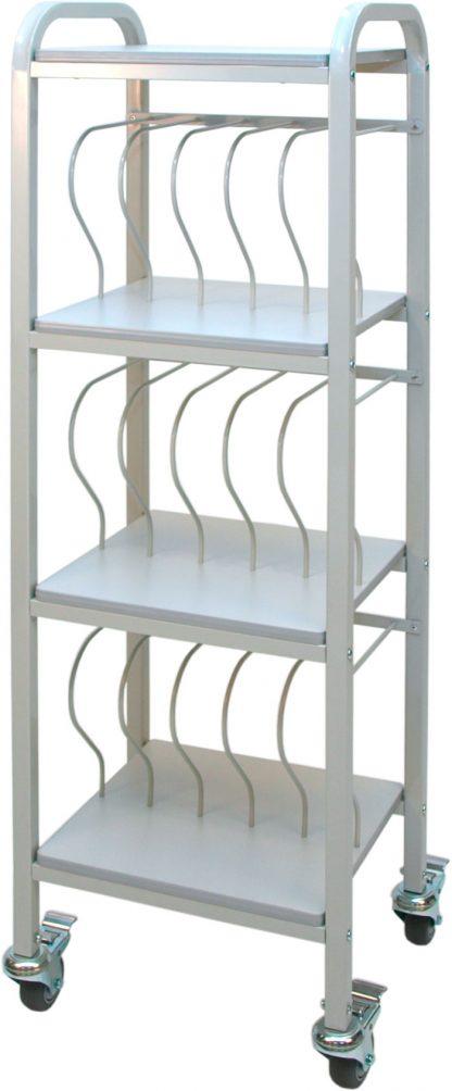 Mobile Chart Ringbinder Cart, 15-Space Rack, 2″ Binder Storage