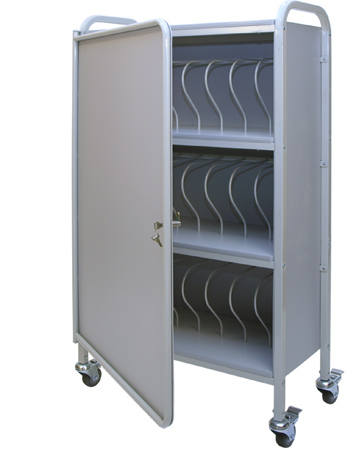 Privacy Mobile Chart Rack 24-Space, 3″ Binder Locking Storage Cart