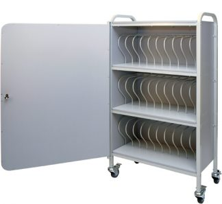 Locking Mobile Chart Rack 30-Space, 2″ Binder Locking Storage Cart
