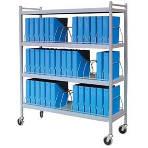 Rhino-Tuff Mobile Chart Rack, 45-Space, Binder Storage Cart