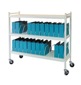 Rhino-Tuff Mobile Chart Rack, 24-Space, Binder Storage Cart