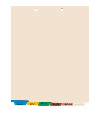 6-Tab Chart Tab Dividers, Bottom – matches MAP Item # 174-33157
