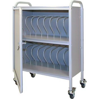 Privacy Mobile Chart Rack 16-Space, 3″ Binder Locking Storage Cart