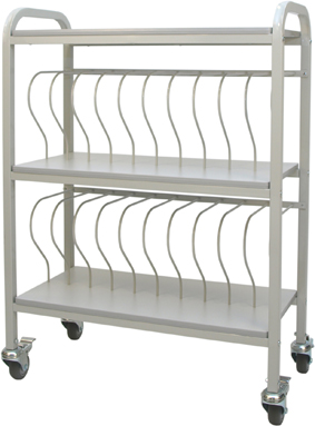 Mobile Chart Ringbinder Cart, 20-Space Rack, 2″ Binder Storage