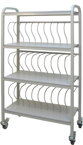 Rolling Chart Ring Binder Cart, 30-Space Rack, 2″ Binder Storage