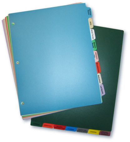 Long-Term Care Poly Chart Divider Set, 14 Tabs
