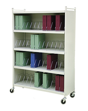 Rhino-Tuff Mobile Chart Rack, 48-Space, Binder Storage Cart