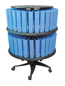 Mobile Chart Binder Carousel – 60 Space Floor Standing Model