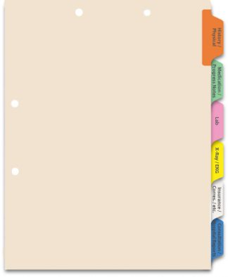 6-Tab Medical Chart Divider Set, Side Tab